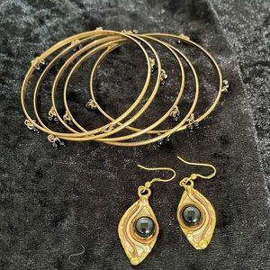 Vintage Tri Gold & Black Onyx Earrings & Bangles